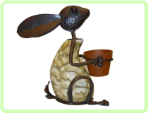"Bunny with Pot By George 14"" Animal Topiary Frame"
